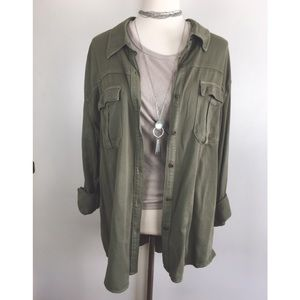 💀Grunge Green Button Up💀